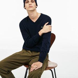 Men's Navy Lacoste V-Neck Sweater